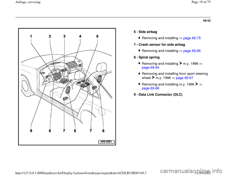 AUDI A4 1997 B5 / 1.G Airbag Service User Guide 69-52      6 -  Side airbag  Removing and installing   page 69 -75 7 -  Crash sensor for side airbag  Removing and installing   page 69 -85 8 -  Spiral spring  Removing and installing   m.y. 1998    p
