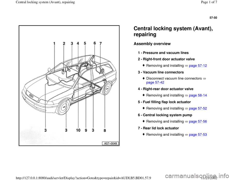 audi a4 1996 b5 / 1.g central locking system avant ... central locking system wiring diagram