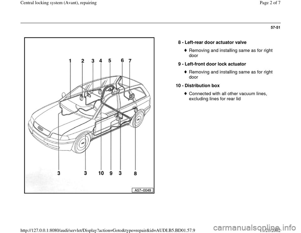 audi a4 1996 b5 / 1 g central locking system avant repairing workshop manual