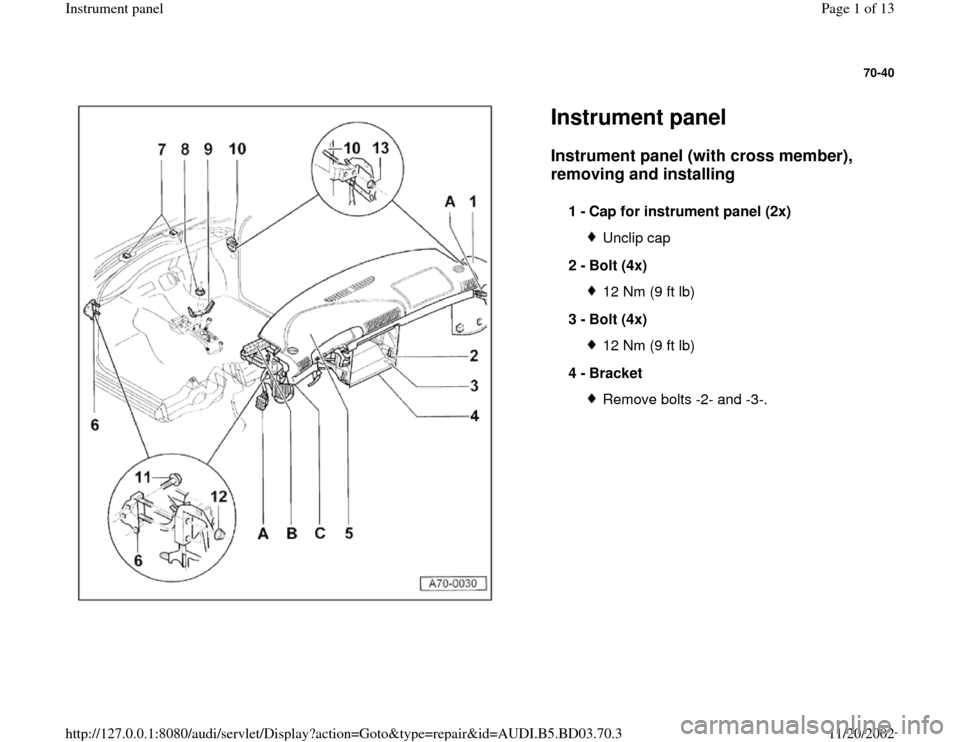 AUDI A4 1996 B5 / 1.G Instrument Panel Workshop Manual, Page 1