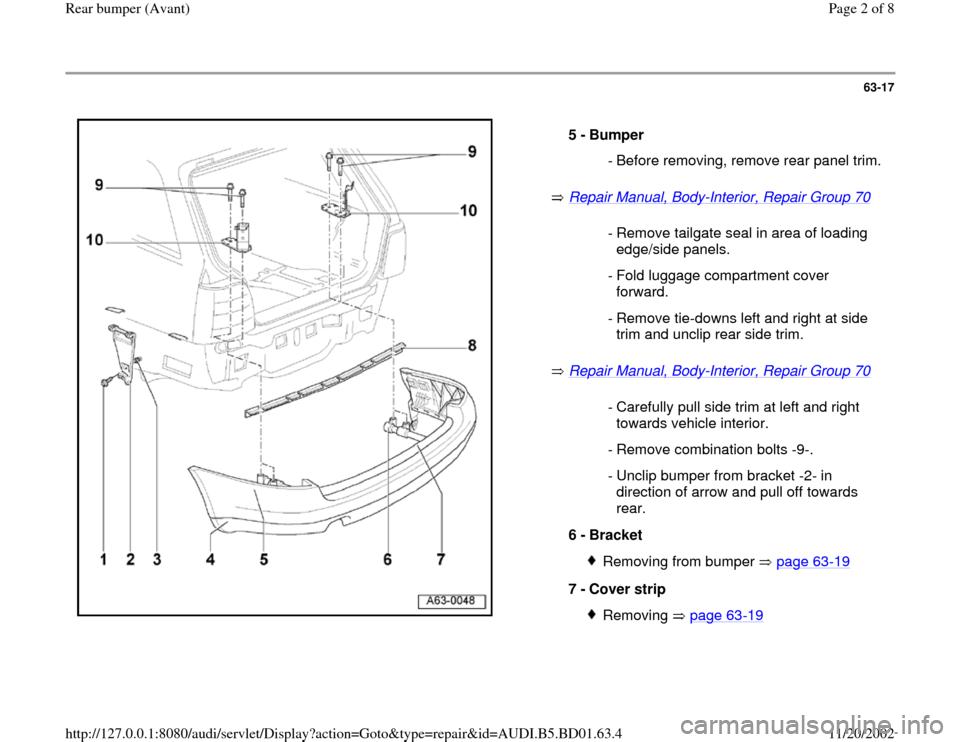 Audi A4 1999 B5 1g Rear Bumper Avant Workshop Manual