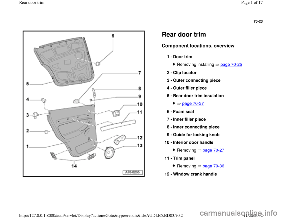 AUDI A4 1995 B5 / 1.G Rear Door Trim Workshop Manual 70-23      Rear door trim Component locations, overview   1 -  Door trim  Removing installing   page 70 -25 2 -  Clip locator  3 -  Outer connecting piece  4 -  Outer filler piece  5 -  Rear door trim