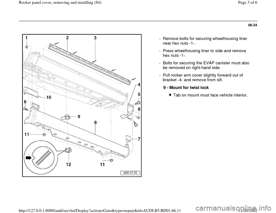 AUDI A4 1995 B5 / 1.G Rocket Panel Workshop Manual 66-24      -  Remove bolts for securing wheelhousing liner  near hex nuts -1-.  -  Press wheelhousing liner to side and remove  hex nuts -1-.  -  Bolts for securing the EVAP canister must also  be rem