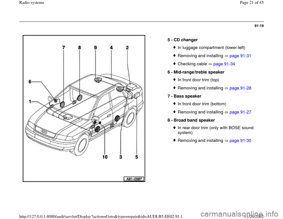 AUDI A4 1995 B5 / 1.G Radio System Owners Manual 91-19      5 -  CD changer  In luggage compartment (lower-left)Removing and installing   page 91 -31 Checking cable   page 91 -34 6 -  Mid-range/treble speaker  In front door trim (top)Removing and in