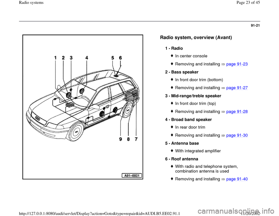 AUDI A4 1995 B5 / 1.G Radio System Owners Manual 91-21      Radio system, overview (Avant)   1 -  Radio  In center consoleRemoving and installing   page 91 -23 2 -  Bass speaker  In front door trim (bottom)Removing and installing   page 91 -27 3 -