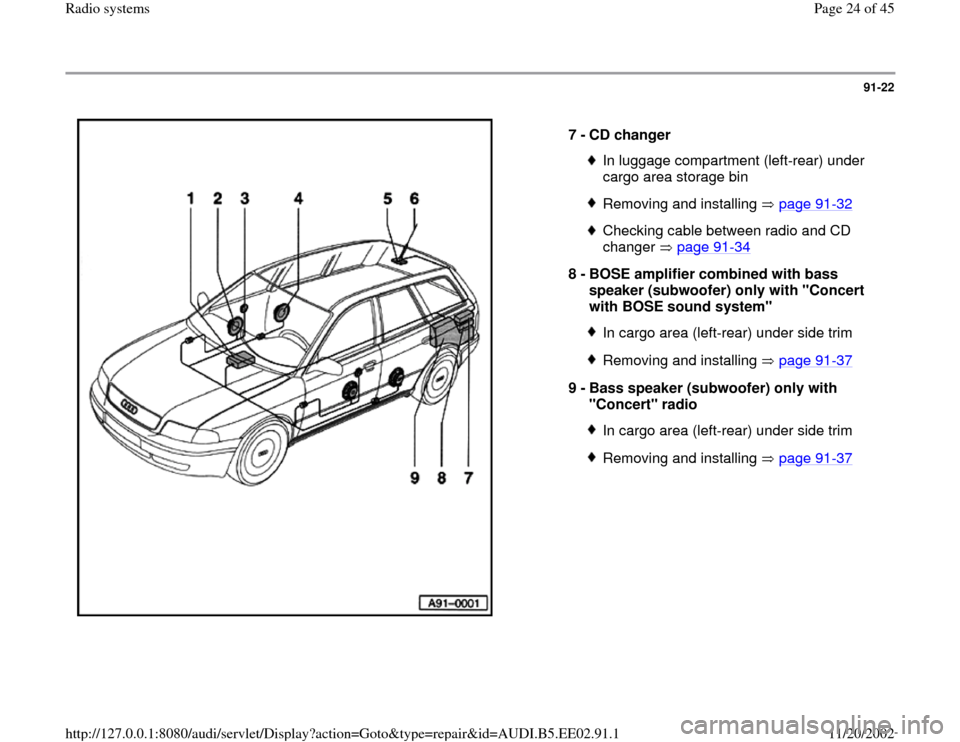 AUDI A4 1995 B5 / 1.G Radio System Owners Manual 91-22      7 -  CD changer  In luggage compartment (left-rear) under  cargo area storage bin Removing and installing   page 91 -32 Checking cable between radio and CD  changer  page 91 -34   8 -  BOSE