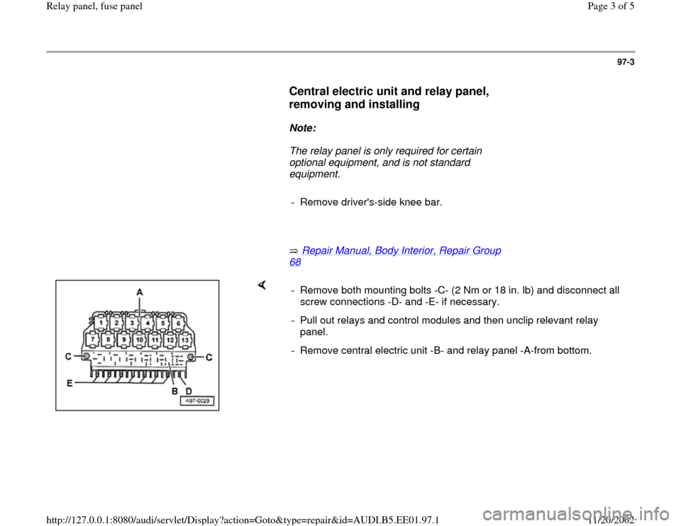 Audi a b g relay panel fuse workshop manual