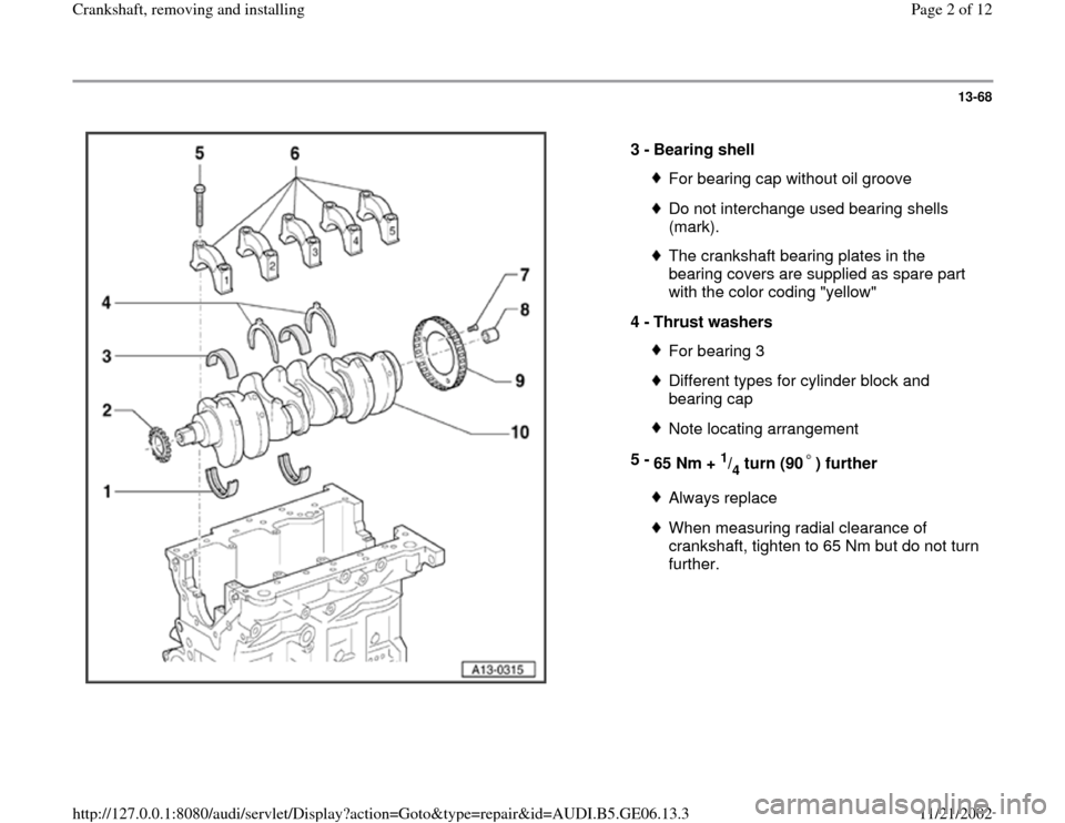 AUDI A4 1997 B5 / 1.G AWM Engine Crankshaft Remove And Install Workshop Manual 13-68      3 -  Bearing shell  For bearing cap without oil grooveDo not interchange used bearing shells  (mark). The crankshaft bearing plates in the  bearing covers are supplied as spare part  with t