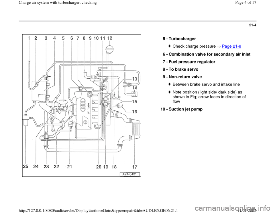 AUDI A4 1996 B5 / 1.G AWM Engine Charge Air Syst 21-4      5 -  Turbocharger  Check charge pressure   Page 21 -8 6 -  Combination valve for secondary air inlet  7 -  Fuel pressure regulator  8 -  To brake servo  9 -  Non-return valve  Between brake