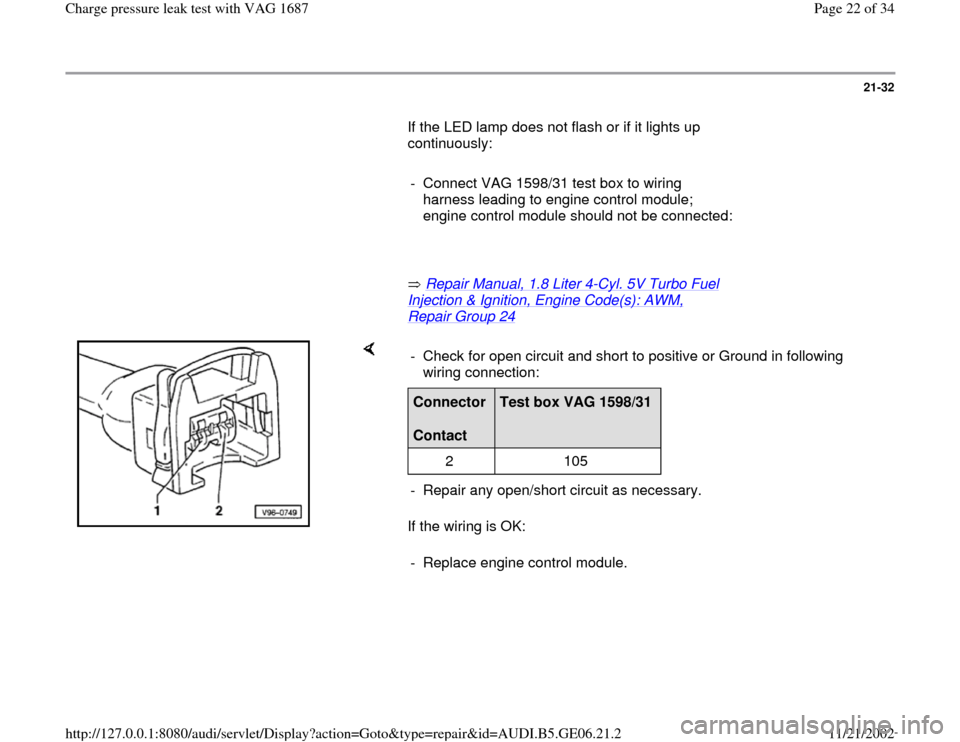 AUDI A4 1998 B5 / 1.G AWM Engine Charge Pressure Leak Test Owners Manual 21-32        If the LED lamp does not flash or if it lights up  continuously:         -  Connect VAG 1598/31 test box to wiring  harness leading to engine control module;  engine control module should