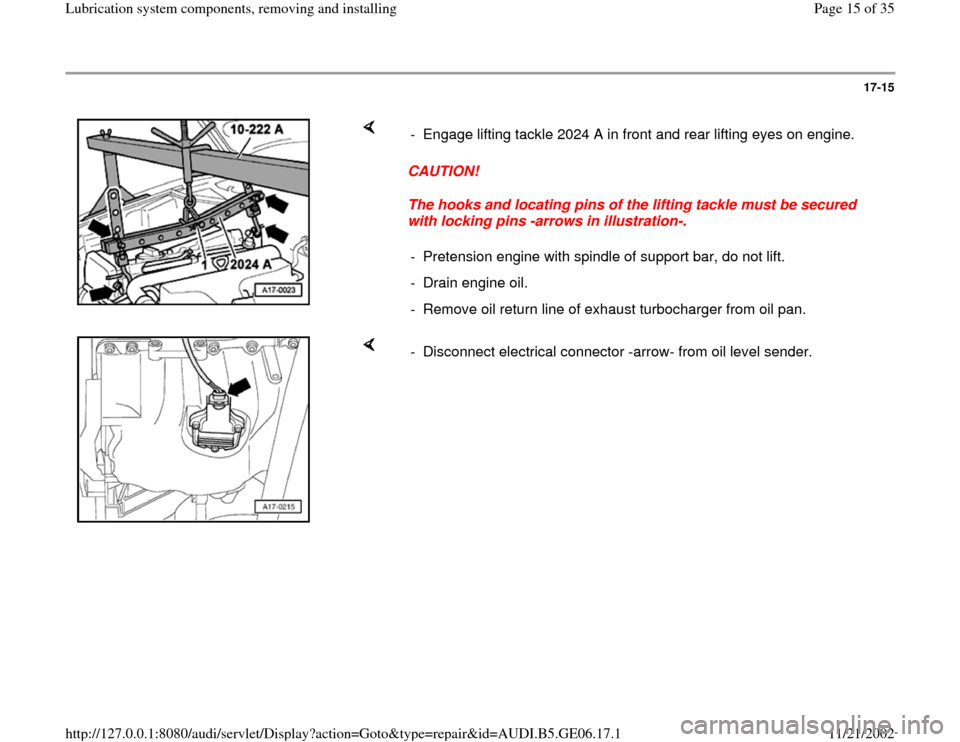 AUDI A4 1997 B5 / 1.G AWM Engine Lubrication System Components Workshop Manual, Page 15