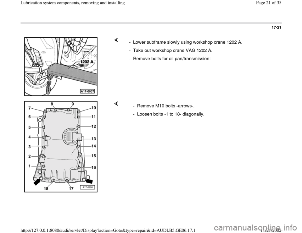 AUDI A4 1997 B5 / 1.G AWM Engine Lubrication System Components Workshop Manual, Page 21