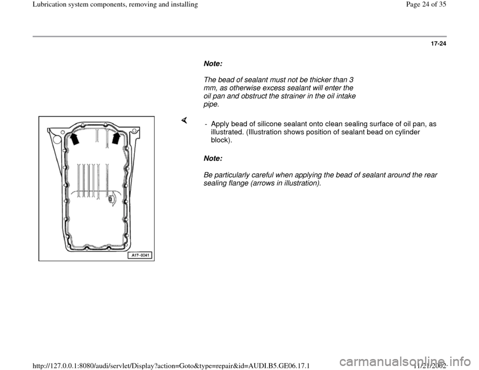 AUDI A4 1997 B5 / 1.G AWM Engine Lubrication System Components Workshop Manual, Page 24