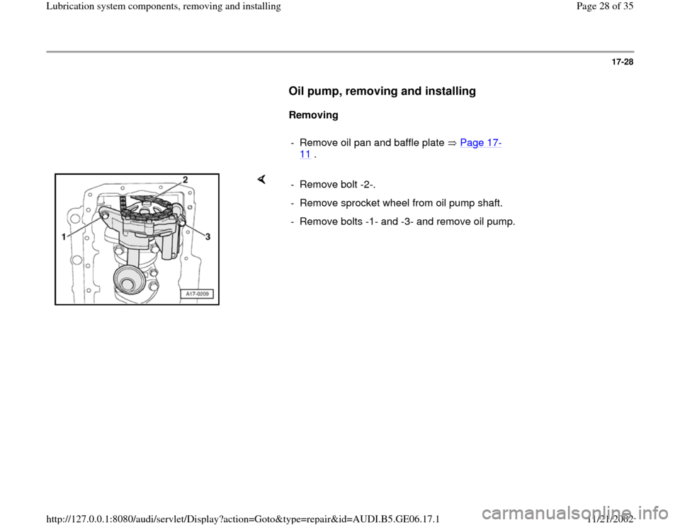 AUDI A4 1997 B5 / 1.G AWM Engine Lubrication System Components Workshop Manual, Page 28