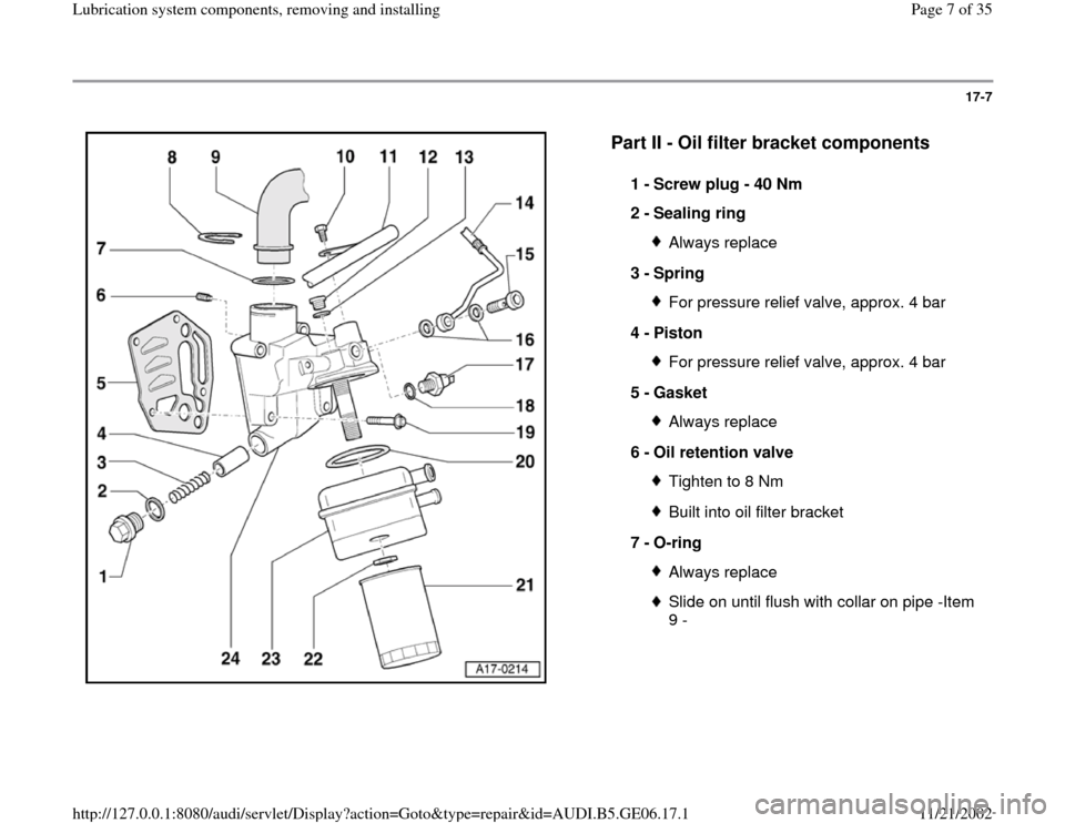 AUDI A4 1995 B5 / 1.G AWM Engine Lubrication System Components Workshop Manual, Page 7