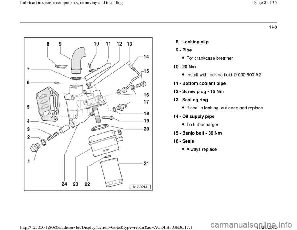 AUDI A4 1995 B5 / 1.G AWM Engine Lubrication System Components Workshop Manual 17-8      8 -  Locking clip  9 -  Pipe  For crankcase breather 10 -  20 Nm Install with locking fluid D 000 600 A2 11 -  Bottom coolant pipe  12 -  Screw plug - 15 Nm  13 -  Sealing ring If seal is le