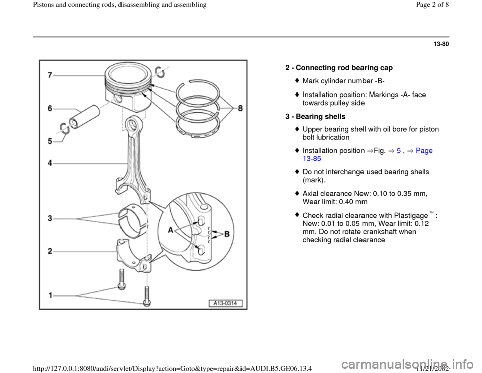 AUDI A4 1997 B5 / 1.G AWM Engine Pistons And Connecting Rods Workshop Manual 13-80      2 -  Connecting rod bearing cap  Mark cylinder number -B-Installation position: Markings -A- face  towards pulley side  3 -  Bearing shells Upper bearing shell with oil bore for piston  bol