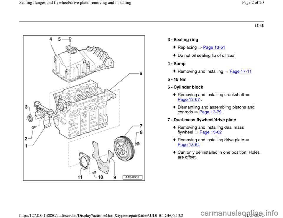 AUDI A4 1995 B5 / 1.G AWM Engine Sealing Flanfes And Flywheel Drive Plate Workshop Manual 13-48      3 -  Sealing ring  Replacing  Page 13 -51 Do not oil sealing lip of oil seal 4 -  Sump Removing and installing   Page 17 -11 5 -  15 Nm  6 -  Cylinder block  Removing and installing cranksh