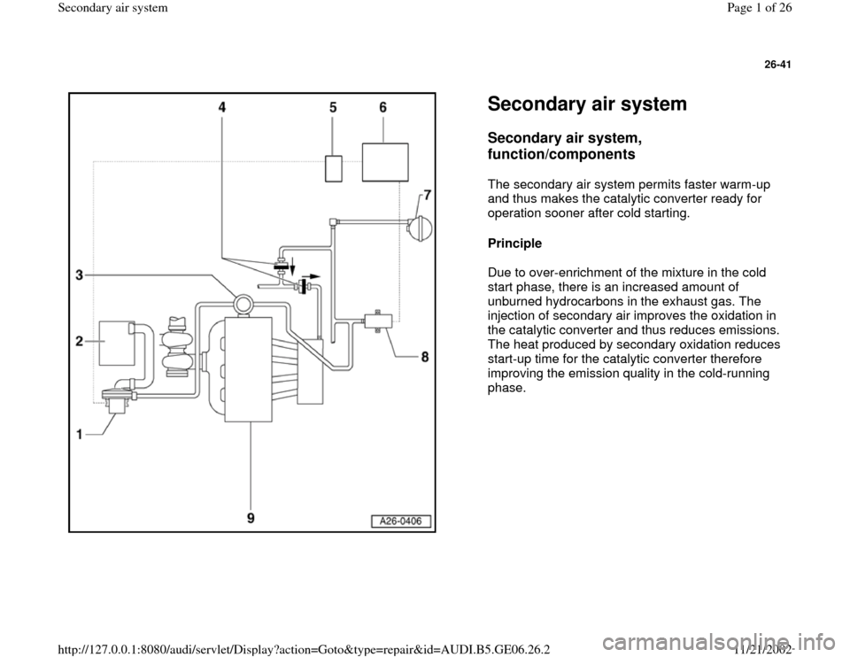 AUDI A4 2000 B5 / 1.G AWM Engine Secondary Air System Workshop Manual, Page 1
