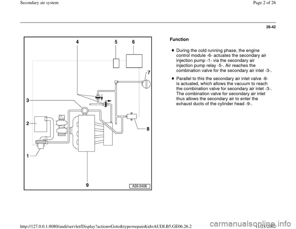 AUDI A4 2000 B5 / 1.G AWM Engine Secondary Air System Workshop Manual, Page 2