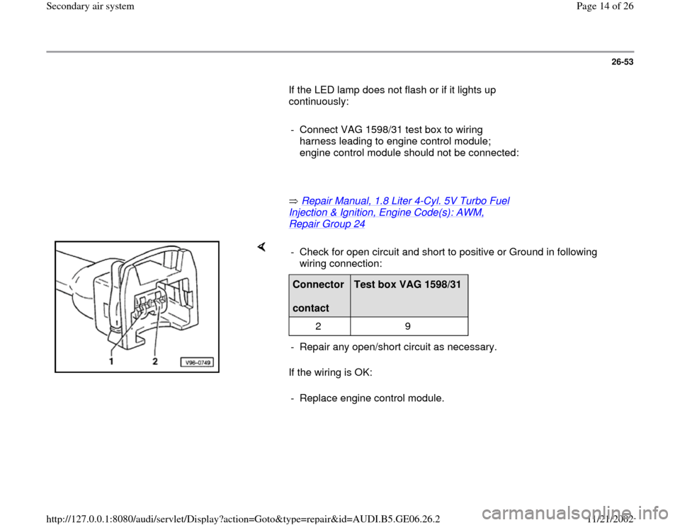 AUDI A4 1995 B5 / 1.G AWM Engine Secondary Air System User Guide 26-53        If the LED lamp does not flash or if it lights up  continuously:         -  Connect VAG 1598/31 test box to wiring  harness leading to engine control module;  engine control module should