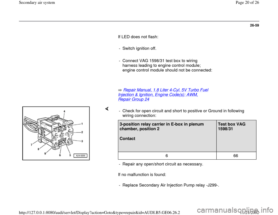 AUDI A4 1997 B5 / 1.G AWM Engine Secondary Air System User Guide 26-59        If LED does not flash:         -  Switch ignition off.       -  Connect VAG 1598/31 test box to wiring  harness leading to engine control module;  engine control module should not be conn