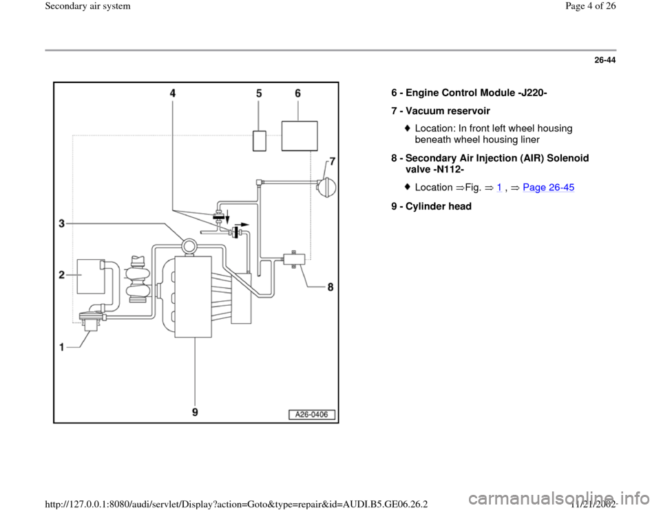 AUDI A4 2000 B5 / 1.G AWM Engine Secondary Air System Workshop Manual, Page 4