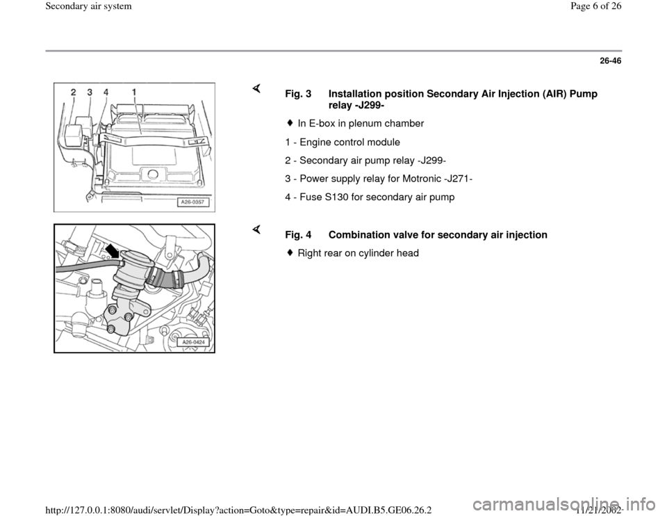 AUDI A4 2000 B5 / 1.G AWM Engine Secondary Air System Workshop Manual, Page 6