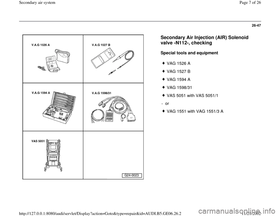 AUDI A4 2000 B5 / 1.G AWM Engine Secondary Air System Workshop Manual, Page 7