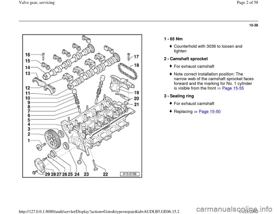 AUDI A4 1997 B5 / 1.G AWM Engine Valve Gear Service Workshop Manual 15-38      1 -  65 Nm  Counterhold with 3036 to loosen and  tighten  2 -  Camshaft sprocket For exhaust camshaftNote correct installation position: The  narrow web of the camshaft sprocket faces  forw