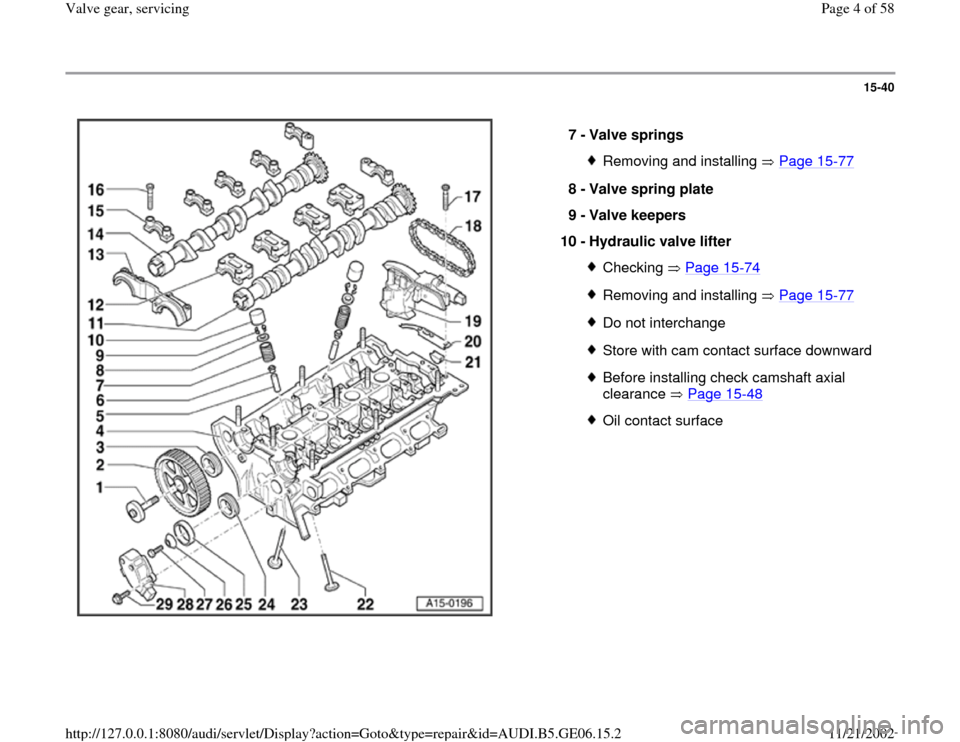 AUDI A4 1997 B5 / 1.G AWM Engine Valve Gear Service Workshop Manual 15-40      7 -  Valve springs  Removing and installing   Page 15 -77 8 -  Valve spring plate  9 -  Valve keepers  10 -  Hydraulic valve lifter  Checking  Page 15 -74 Removing and installing   Page 15