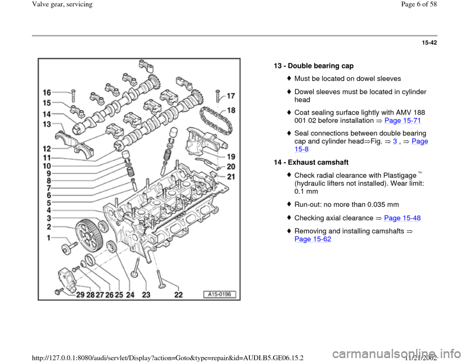 AUDI A4 1997 B5 / 1.G AWM Engine Valve Gear Service Workshop Manual 15-42      13 -  Double bearing cap  Must be located on dowel sleevesDowel sleeves must be located in cylinder  head Coat sealing surface lightly with AMV 188  001 02 before installation   Page 15 -71