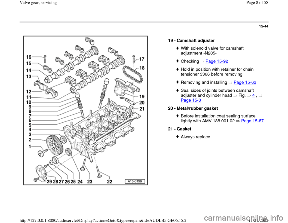 AUDI A4 1997 B5 / 1.G AWM Engine Valve Gear Service Workshop Manual 15-44      19 -  Camshaft adjuster  With solenoid valve for camshaft  adjustment -N205- Checking  Page 15 -92 Hold in position with retainer for chain  tensioner 3366 before removing Removing and inst