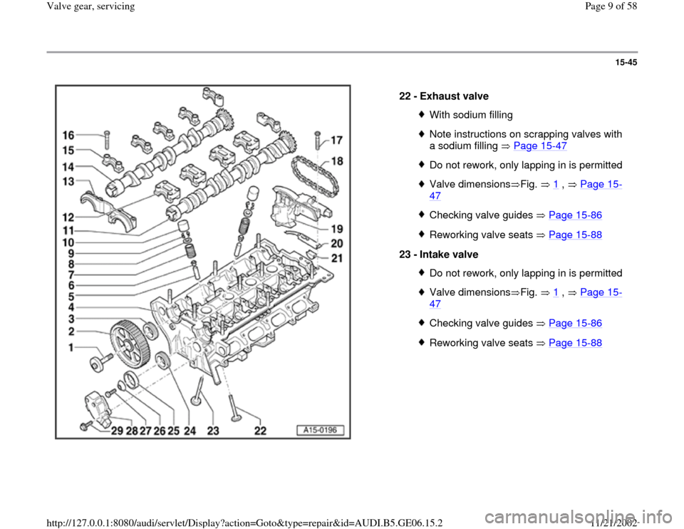 AUDI A4 1997 B5 / 1.G AWM Engine Valve Gear Service Workshop Manual 15-45      22 -  Exhaust valve  With sodium fillingNote instructions on scrapping valves with  a sodium filling   Page 15 -47   Do not rework, only lapping in is permittedValve dimensions Fig.   1  ,