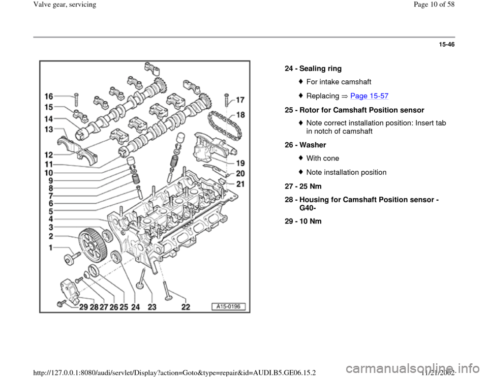 AUDI A4 1997 B5 / 1.G AWM Engine Valve Gear Service Workshop Manual 15-46      24 -  Sealing ring  For intake camshaftReplacing  Page 15 -57 25 -  Rotor for Camshaft Position sensor  Note correct installation position: Insert tab  in notch of camshaft  26 -  Washer Wi