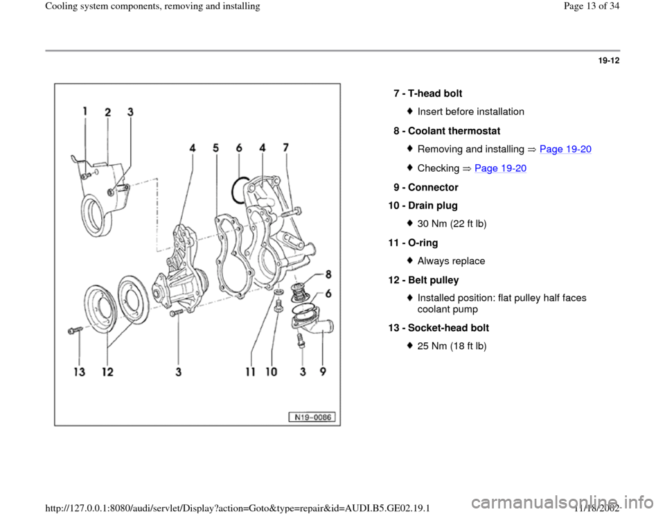 AUDI A6 1995 C5 / 2.G AEB ATW Engines Cooling System Components User Guide 19-12      7 -  T-head bolt  Insert before installation 8 -  Coolant thermostat Removing and installing   Page 19 -20 Checking  Page 19 -20 9 -  Connector  10 -  Drain plug  30 Nm (22 ft lb) 11 -  O-r