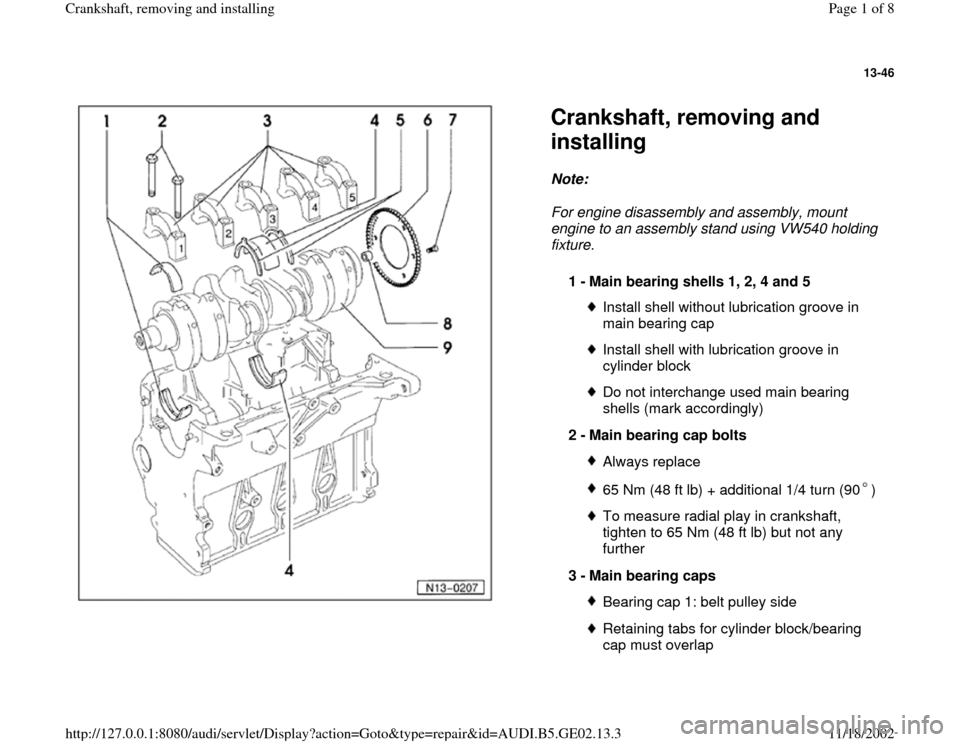 AUDI A4 1996 B5 / 1.G AEB ATW Engines Crankshaft Workshop Manual 13-46      Crankshaft, removing and  installing Note:   For engine disassembly and assembly, mount  engine to an assembly stand using VW540 holding  fixture.  1 -  Main bearing shells 1, 2, 4 and 5  I