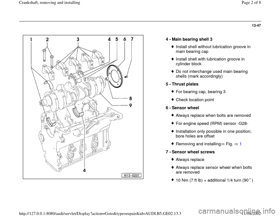 AUDI A4 1996 B5 / 1.G AEB ATW Engines Crankshaft Workshop Manual 13-47      4 -  Main bearing shell 3  Install shell without lubrication groove in  main bearing cap Install shell with lubrication groove in  cylinder block Do not interchange used main bearing  shell