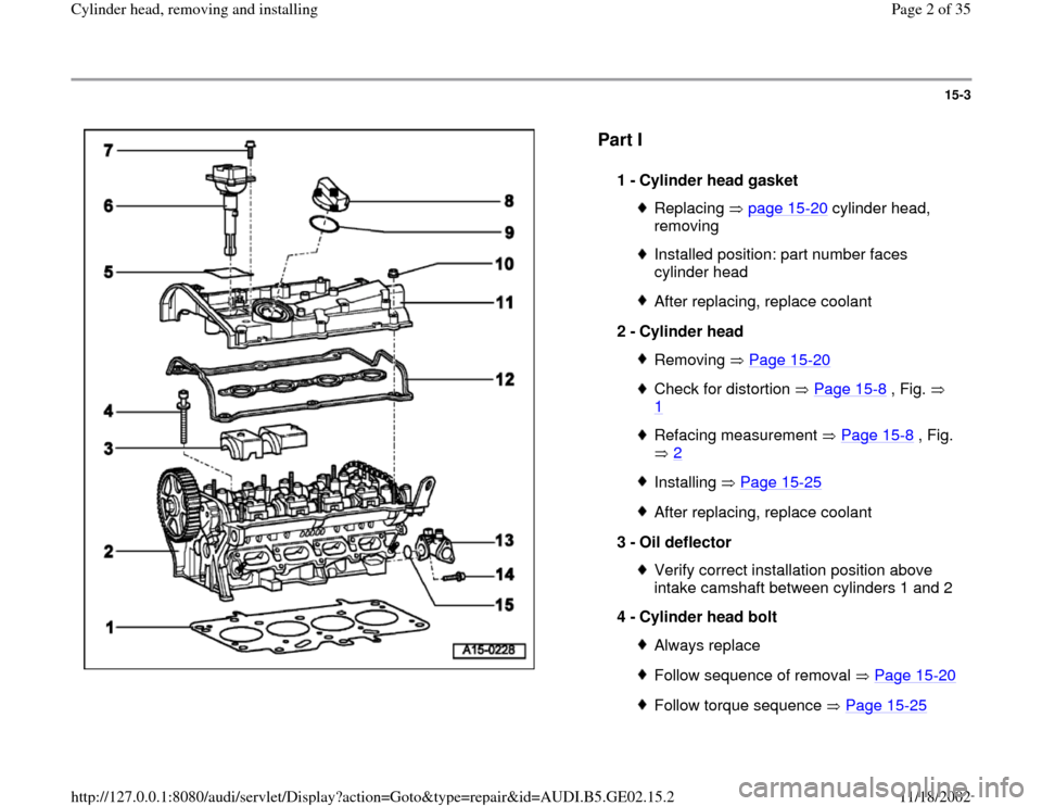 AUDI A4 1995 B5 / 1.G AEB ATW Engines Cylinder Head Remove And Install Workshop Manual, Page 2