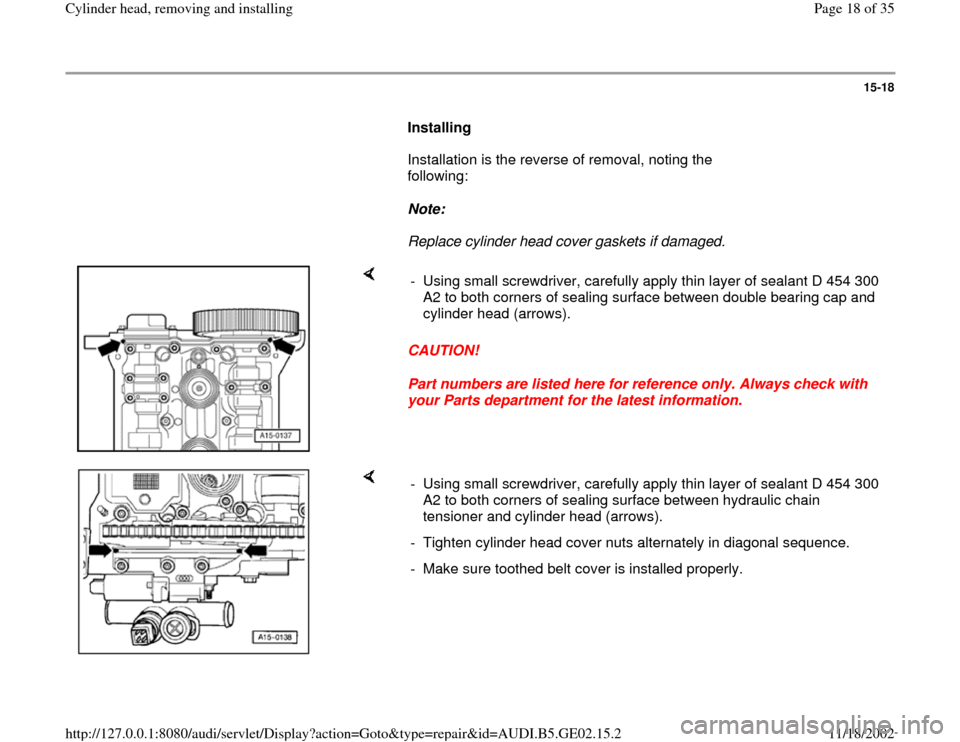 AUDI A3 1999 8L / 1.G AEB ATW Engines Cylinder Head Remove And Install Workshop Manual, Page 18