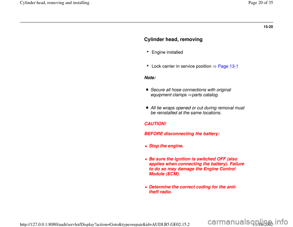 AUDI A3 1999 8L / 1.G AEB ATW Engines Cylinder Head Remove And Install Workshop Manual, Page 20
