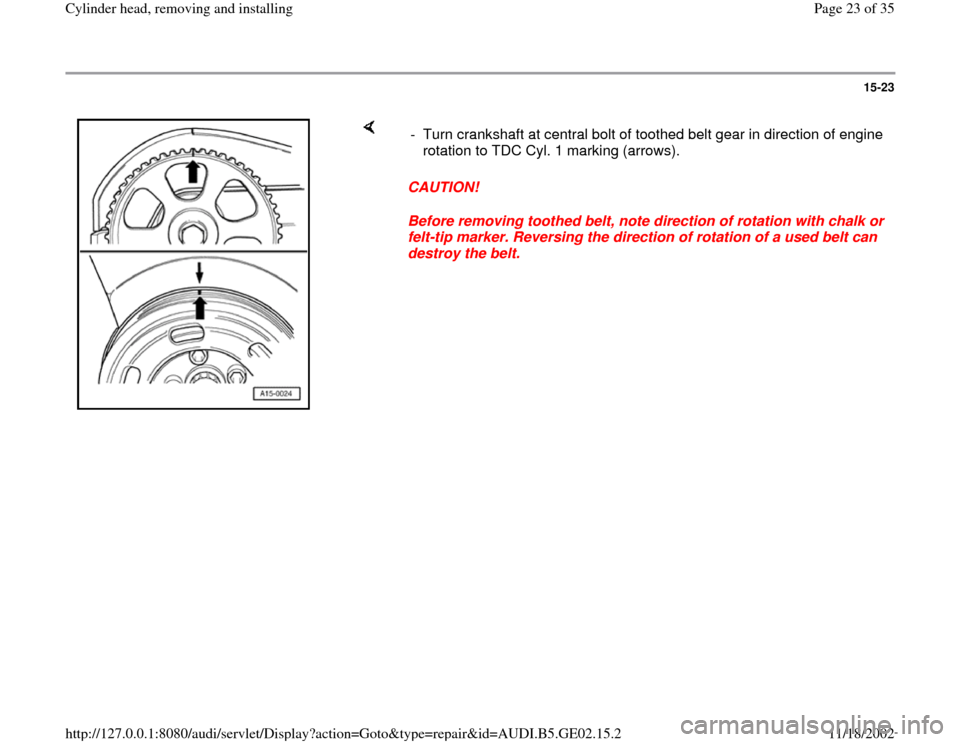 AUDI A4 1996 B5 / 1.G AEB ATW Engines Cylinder Head Remove And Install Workshop Manual, Page 23