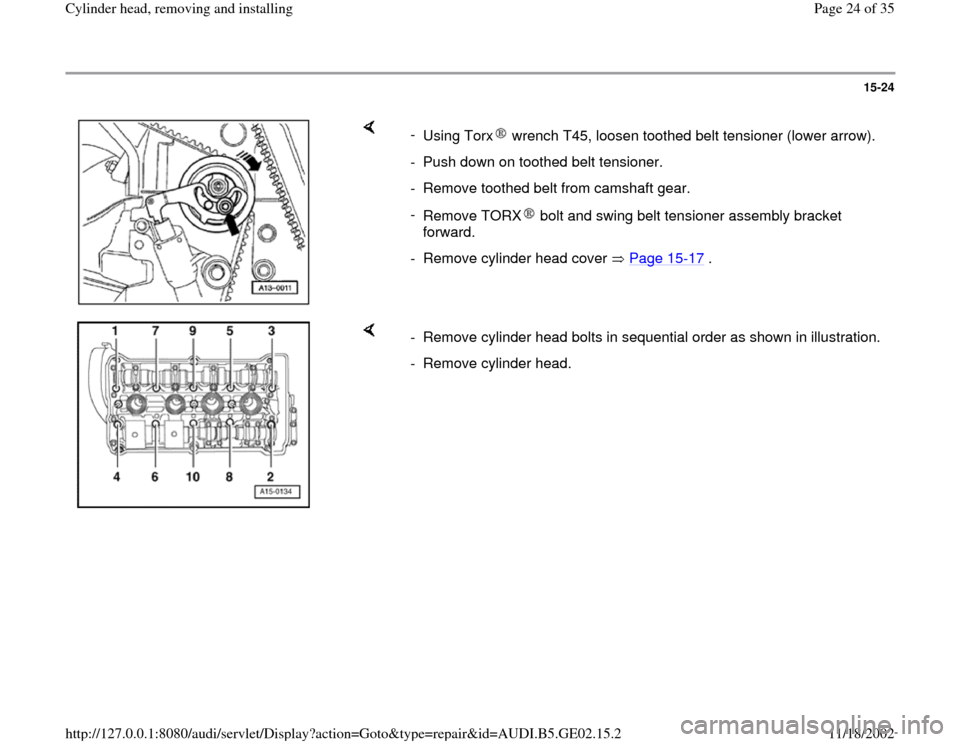 AUDI A4 1996 B5 / 1.G AEB ATW Engines Cylinder Head Remove And Install Workshop Manual, Page 24