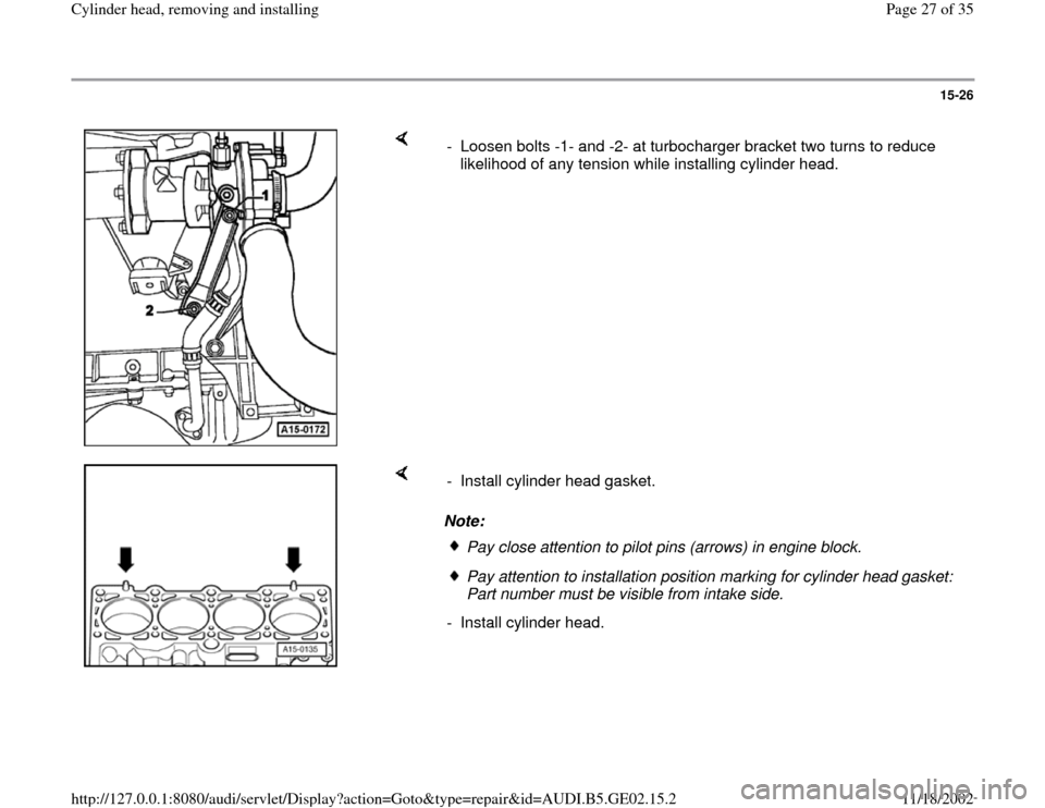 AUDI A4 1996 B5 / 1.G AEB ATW Engines Cylinder Head Remove And Install Workshop Manual, Page 27