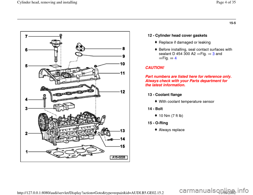 AUDI A4 1995 B5 / 1.G AEB ATW Engines Cylinder Head Remove And Install Workshop Manual, Page 4