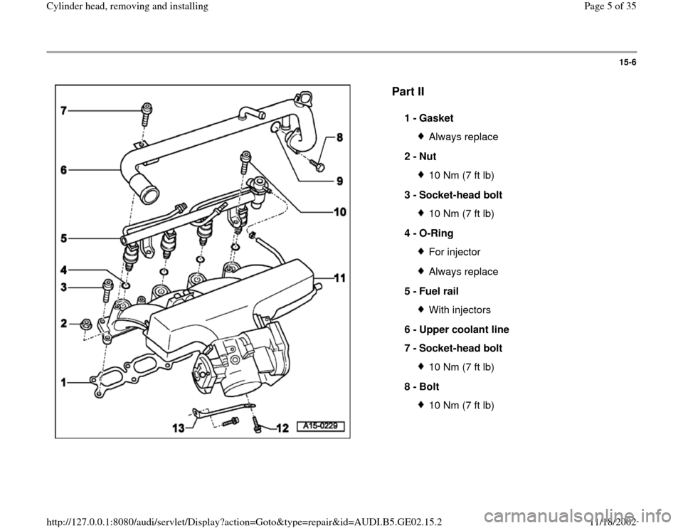 AUDI A4 1995 B5 / 1.G AEB ATW Engines Cylinder Head Remove And Install Workshop Manual, Page 5