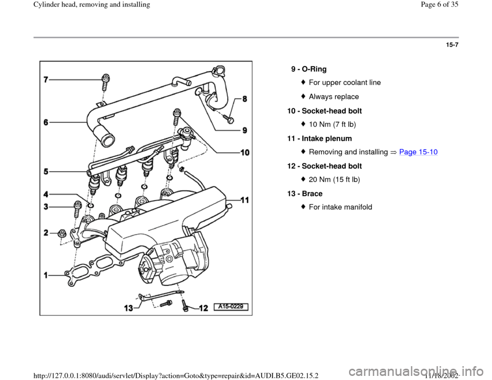 AUDI A4 1995 B5 / 1.G AEB ATW Engines Cylinder Head Remove And Install Workshop Manual, Page 6