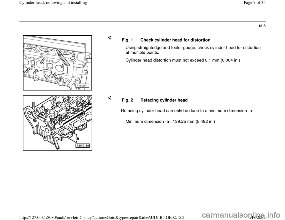 AUDI A4 1995 B5 / 1.G AEB ATW Engines Cylinder Head Remove And Install Workshop Manual, Page 7