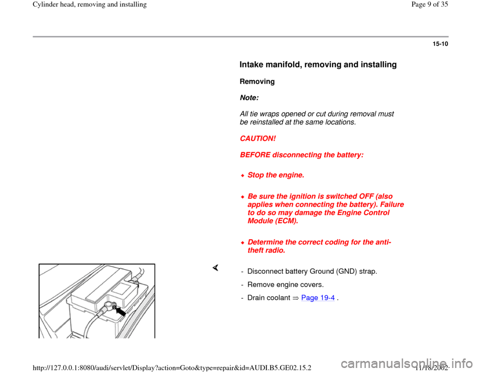 AUDI A4 1995 B5 / 1.G AEB ATW Engines Cylinder Head Remove And Install Workshop Manual, Page 9
