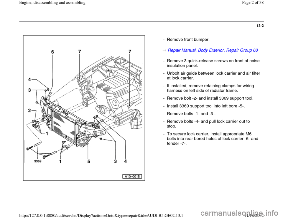 AUDI TT 2000 8N / 1.G AEB ATW Engines Engine Assembly Workshop Manual, Page 2